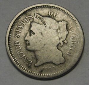 1866-Three-Cent-Nickel-Piece-Grading-GOOD-Bargain-Priced-and-Shipped-FREE-b771