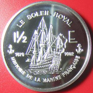 2004-FRENCH-GUIANA-1-1-2-EURO-1oz-SILVER-PROOF-ESSAI-SOLEIL-ROYAL-104-GUN-SHIP