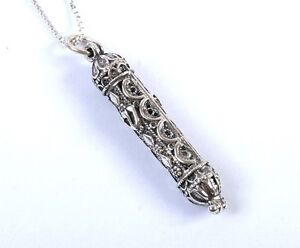Sterling-Silver-Filigree-Mezuzah-Pendant-amp-Matching-Necklace-18-034-Israel-Judaica