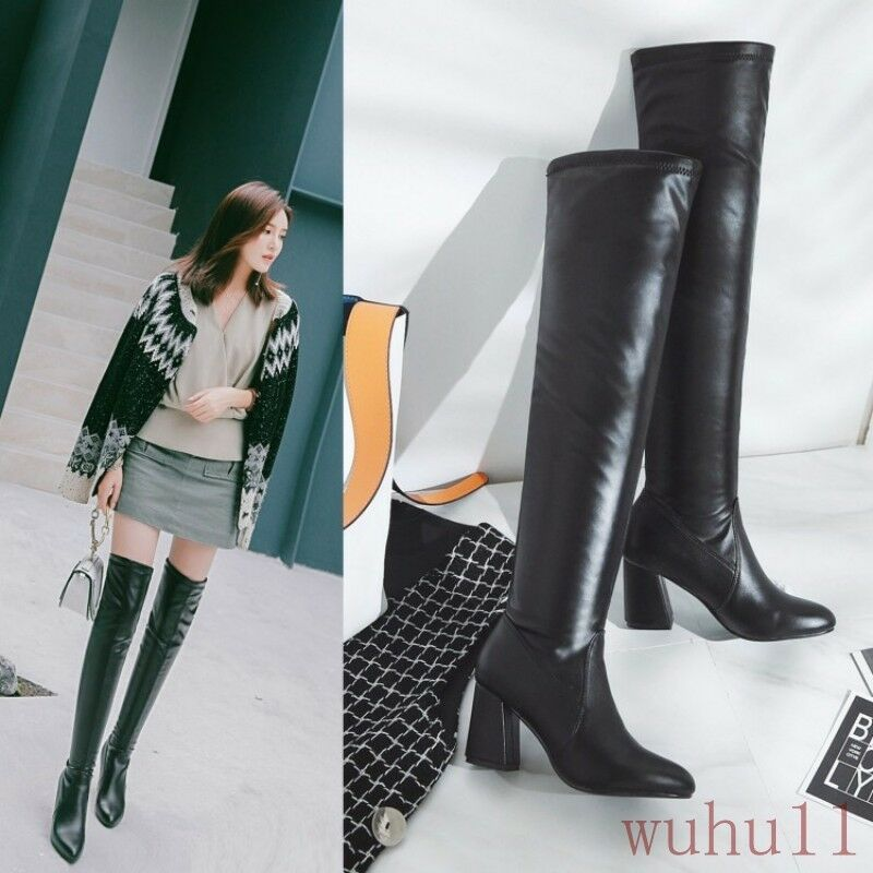 Women's Shoes Over Knee Boots Pull On Round Toe High Block Heel US 13 Sexy 2018