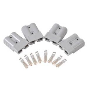4X-Batteries-Verbinder-Stecker-Battery-Connector-50A-600V-8AWG-FKZ-Anhaenger-Grau