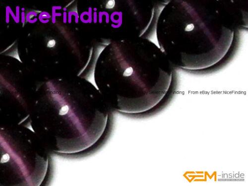 "Cat Eye Lad Created Round Stone Jewelry Making Design Craft Beads Gemstone 15/"""