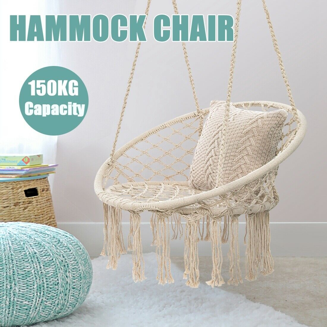 330 Lbs Cotton Hanging Macrame Hammock Rope Swing Chair Round Seat In Outdoor