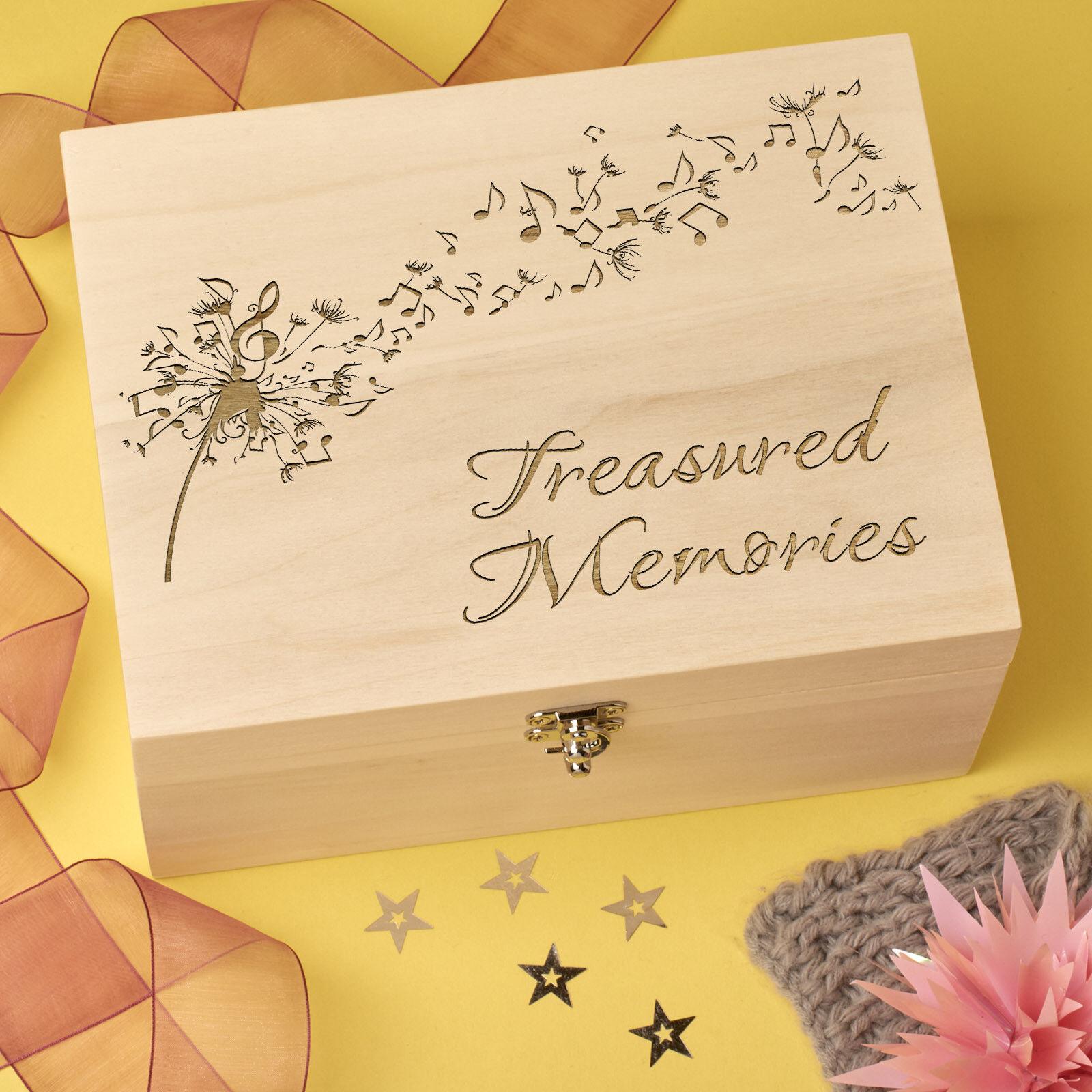 Personalised Laser Engraved Wooden Keepsake, Memory Box - Dandelion Design