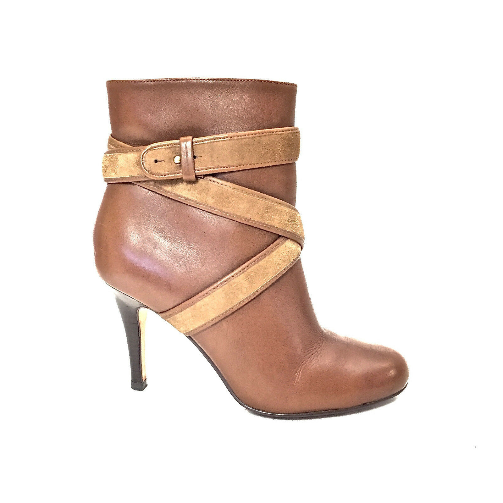 Women's Cole Haan Cognac Leather Leather Leather Zip Up Booties w  Camel Suede Straps Size 6.5 B 3dcedf
