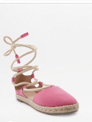 Urban Outfitters Pink Alpargatas Sandalias Izzy Con Cordones Talla 7 Totalmente Nuevo Con Caja