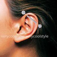 14g Steel Clear Czech Crystal Long Industrial Barbell Ear Ring Studs Bar Earring