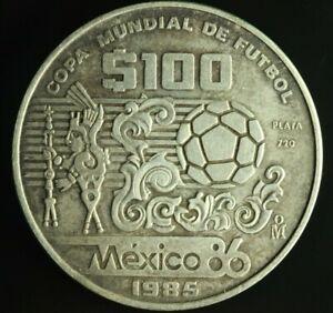 Mexico 100 Pesos 1985 Silver Coin WORLD CUP M855