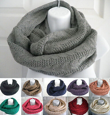 New Women Winter Warm Infinity Circle Cable Knit braided Long Scarf Shawl Wrap