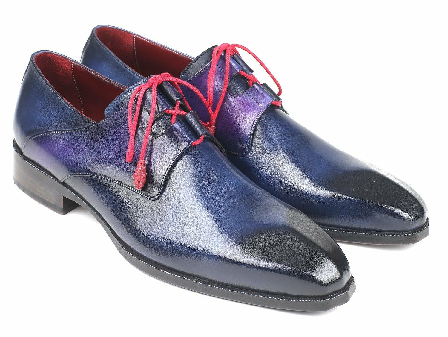 Paul Parkman Ghillie Lacing Blue Dress Shoes Handmade Scarpe classiche da uomo