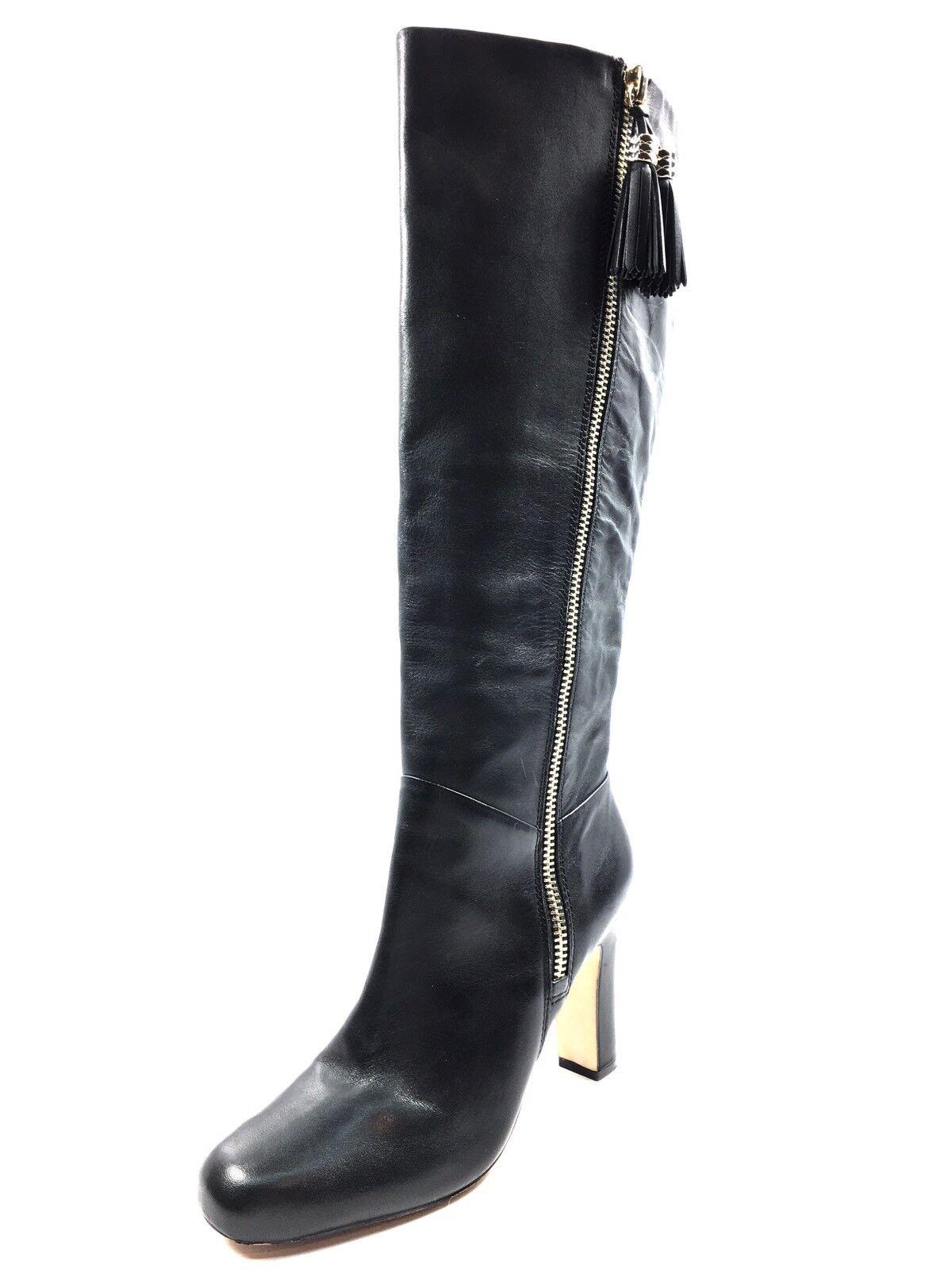 280 Louise et Cie Zavia Black Leather Knee High Boots Women's Size 8 M