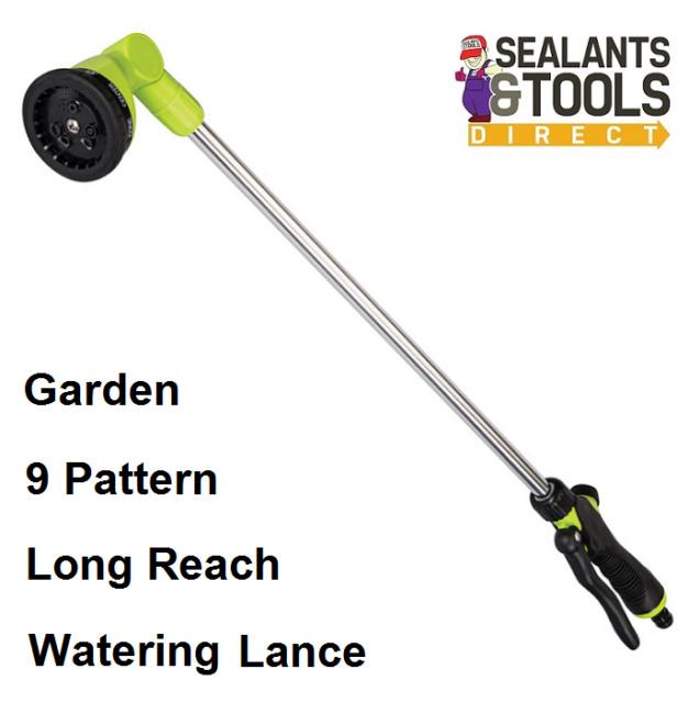Garden Multi Pattern Water Spray Lance Long Reach Hose Pipe Plant Watering Gun
