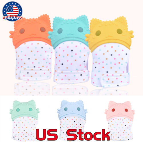 Infant Silicone Baby Kids Molar Teething Gloves Anti-bite Gift Toys Relieve US