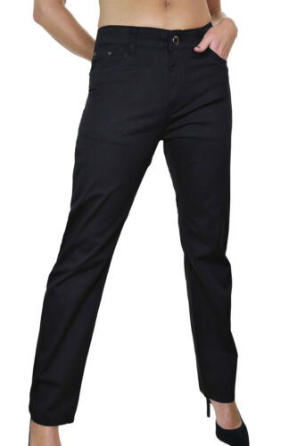 Womens Straight Mid Rise Stretch Jeans Slight Sheen Black  Size 14