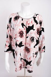 New-York-amp-Company-Women-039-s-Shirt-Blouse-XL-Slit-Sleeve-Floral-Necklace-Collar