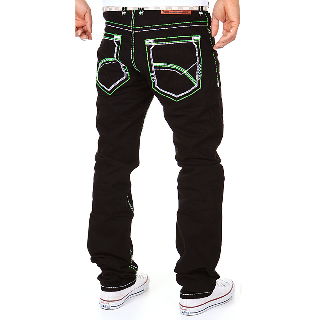 Zahida Jeans men Pantaloni Cuciture Spesse Abbigliamento Discoteca black green