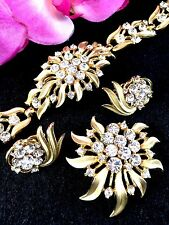 1960'S CROWN TRIFARI CRYSTAL RHINESTONE STARBURST BRACELET BROOCH EARRINGS SET