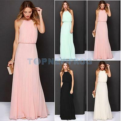 Sexy Girl Chiffon Sleeveless Dinner Party Halter Pleated Full Length Long Dress