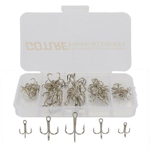 50pcs//lot Treble Fishing Hooks Size 2//4//6//8//10 Carbon Steel Hook Bass Carp Trout