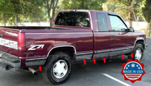 96-98-Chevy-GMC-C-K-Pickup-3Dr-Extended-Cab-Short-Bed-Rocker-Panel-Trim-6-25-034-N-F