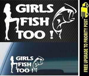 Girls Fish Too Fishing Girl Vinyl Decal Sticker
