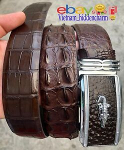 4cm-JOINTED-Belt-Genuine-Crocodile-Skin-Leather-Authentic-Handmade