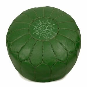 Moroccan-genuine-leather-pouf-unstuffed-green-free-shipping
