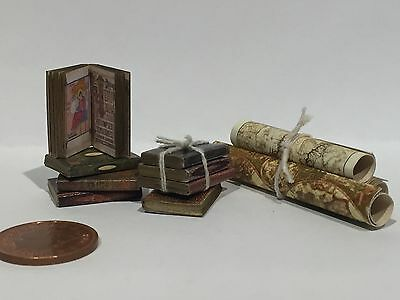 dolls house miniature books, Antique style job lot of 8 Books and 3 Vintage Maps