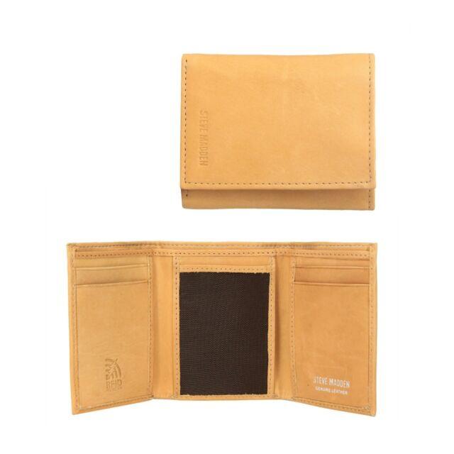 Steve Madden Mens Antique Leather Rfid Blocking Trifold Wallet Tan For Sale Online Ebay