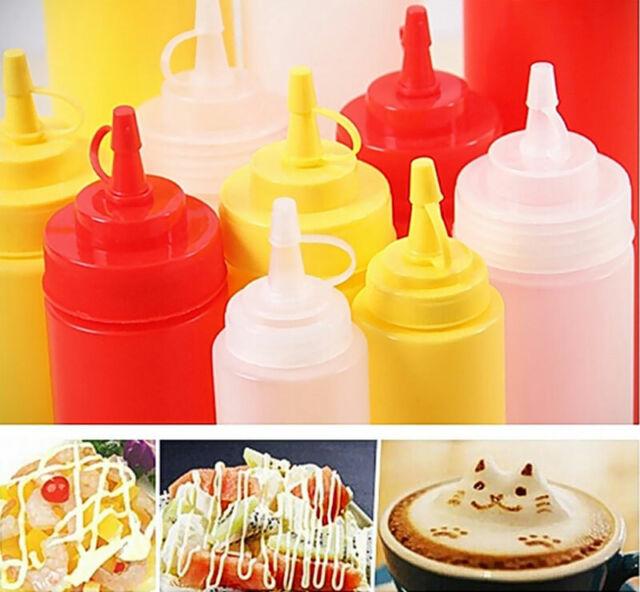8-24OZ Kitchen Plastic Squeeze Bottle Dispenser Ketchup Oil Sauce Vinegar Bottle