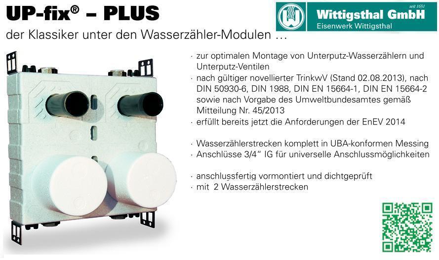 ALLMESS UP-fix Plus Duo Wasserzähler-Modul 3 4  IG für 2 Wasserzähler ALLMESS