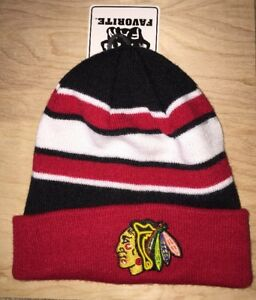 f65fcaae8 Image is loading Chicago-Blackhawks-Fan-Favorite-Cuffed-Winter-Knit-Hat-