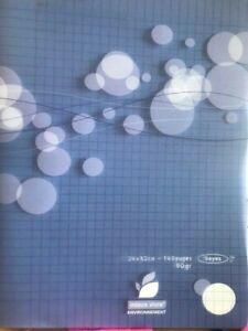 Cahier piqure 140 pages 90g 24x32cm - grands carreaux - BLEU - NEUF