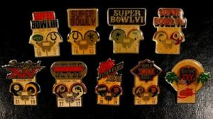 Lot of 9 Different NFL Super Bowl Starline Collector Pins Vintage, Rare
