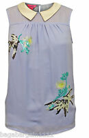 RRP£39 MONSOON BLUE EMBELLISHED BIRDS PETER PAN COLLAR VINTAGE STYLE SUMMER TOP