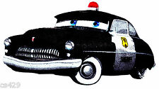 """5"""" DISNEY CARS  SHERIFF POLICE CAR CHARACTER FABRIC APPLIQUE IRON ON"""