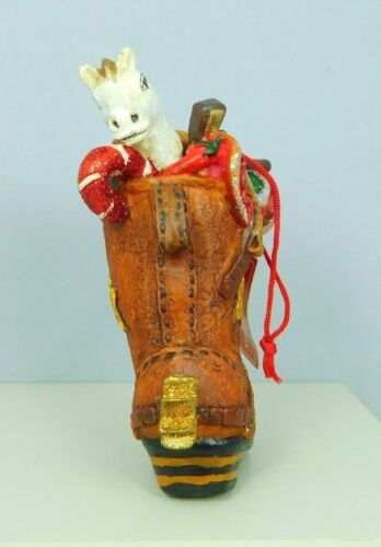 Cowboy boot ornament filled with saddle hat New by TJ/'s Christmas #963071 etc