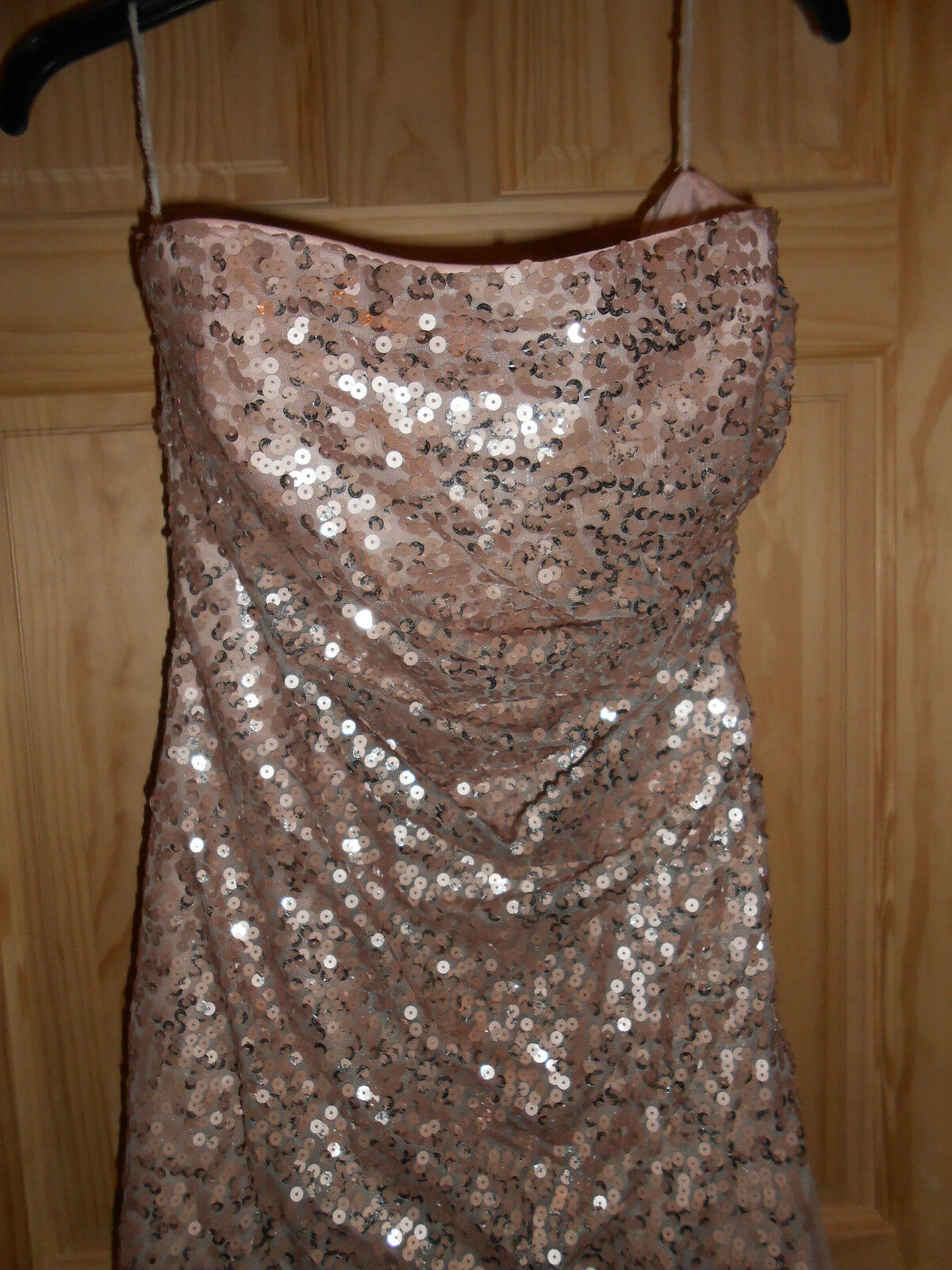 NEW deb Long Formal Nude Pink Tan Tulle Sequins Sequins Sequins Dress Strapless sz 13 14 Elegant 8c25fe