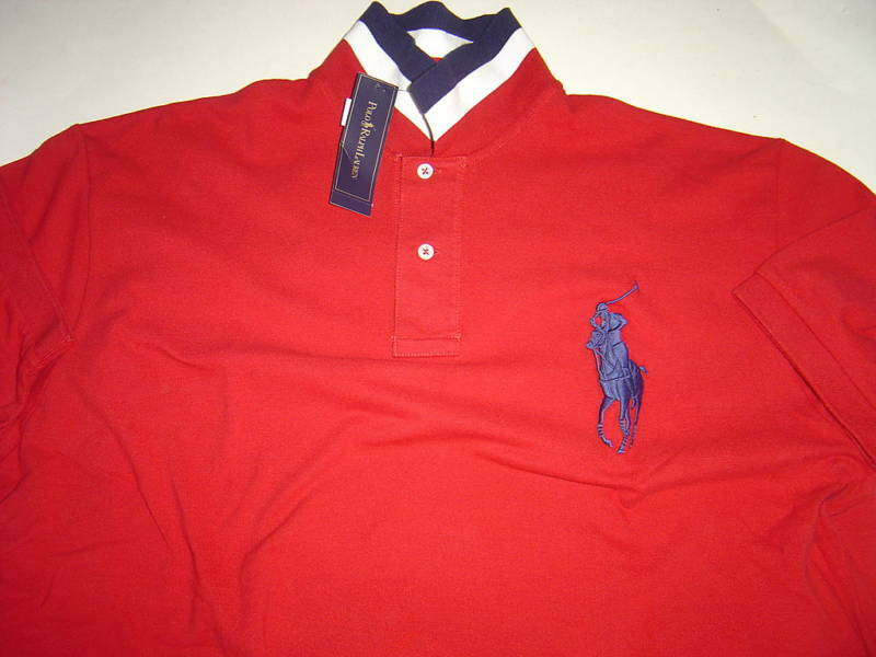 MENS RALPH LAUREN RED W  NAVY LRG PONY S S POLO SHIRT SIZE M