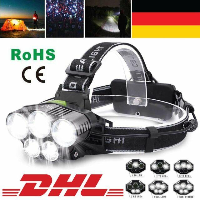 Profi LED Stirnlampe Kopflampe 18650 Akku 90000LM 5x XM-L T6 Inkl. USB Ladekabel