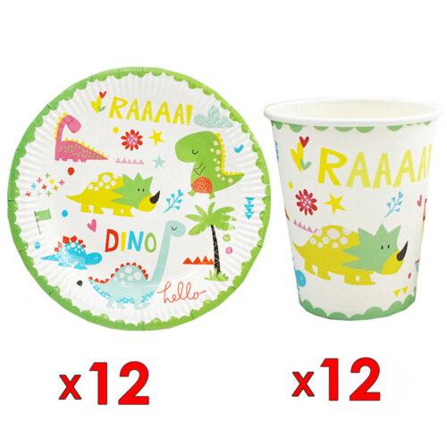 24pcs//lot Dinosaure Thème Enfant Fête Papier 12pcs plaques plats et 12pcs Tasses