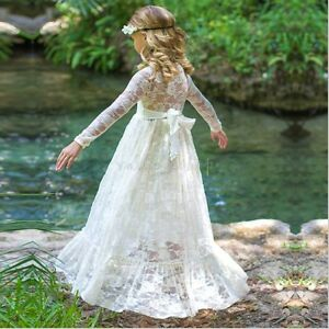 Flower-Girl-Dress-Princess-Birthday-Party-Wedding-Pageant-Christening-Lace-Dress