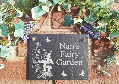 Nana/'s Garden Natural Slate Plaque Butterfly and Flowers Design 13x17cm