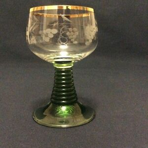 Glass-in-Wine-Roemer-Height-10-6cm-Crystal-Blown-in-Decor-Vines-Alsace-Xx