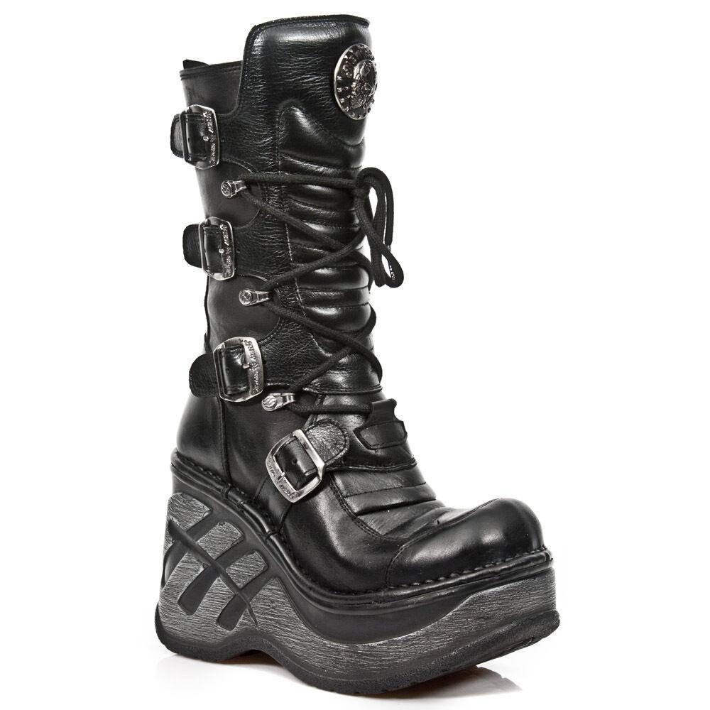 Newrock m.sp 9873 S1 Negro Exclusivo últimos Nuevos Rock Punk Gothic Boots-Para Mujer
