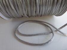 10 metres (10m) x Silver 2mm Rattail Rat Tail Satin Nylon Threading Beading Cord