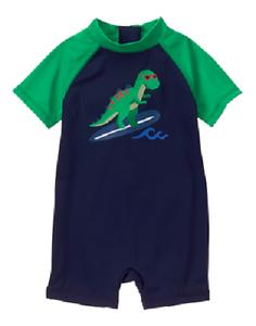 55c65f9c55 Gymboree Blue & Green Dinosaur Dino One-Piece Swimsuit Baby Boy 0-3 ...