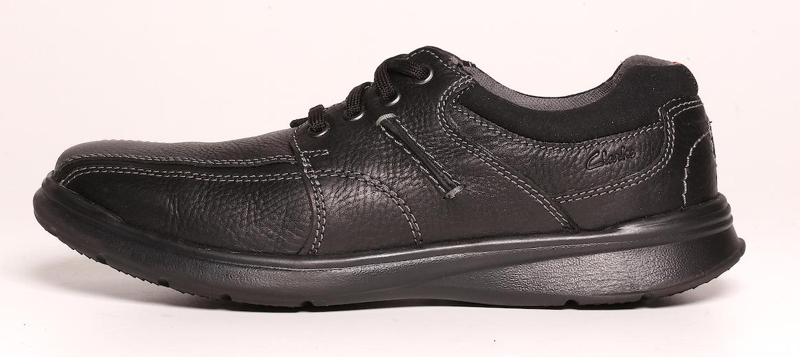 Clarks Uomo nero nero nero Oily Leather Cotrell Walk scarpe da ginnastica 6045 Dimensione 9.5 M ed4938