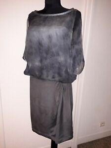 COS-robe-taille-42-grise-bi-matiere-haut-crepon-de-soie-et-jupe-soie-epaisse