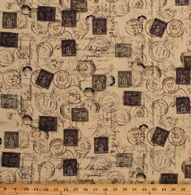 Tim Holtz Eclectic Elements Postage Stamps Cotton Fabric Print By Yard D578 27